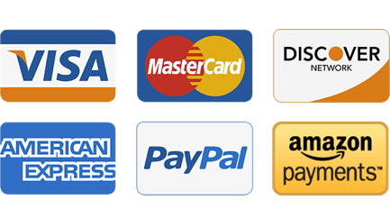 PayPal Accepted - All Major Credit and Debit Cards Accepted - Amazon Payments Accepted