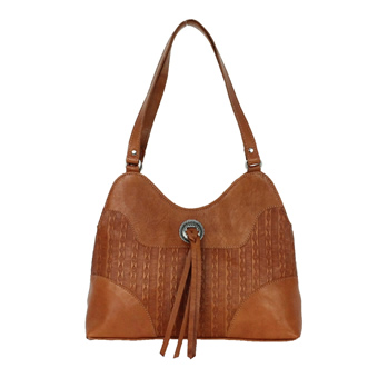 American West Southern Style Multi-Compartment Shoulder Bag - Golden Tan