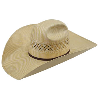 American Hat Co 15★ 1022 Two-Tone Vented Straw Hat w/5 Brim - Wheat/Ivory
