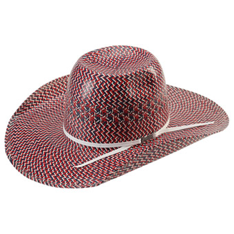 American Hat Co 20★ Fancy Vent Tri-Colored Straw Hat - Red/Ivory/Blue