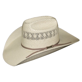 American Hat Co 20★ Fancy Vent & Weave Two-Tone Straw Hat - Tan/Ivory