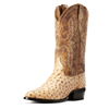 Ariat Men's Circuit R Toe Full-Quill Ostrich Boots - Light Oak