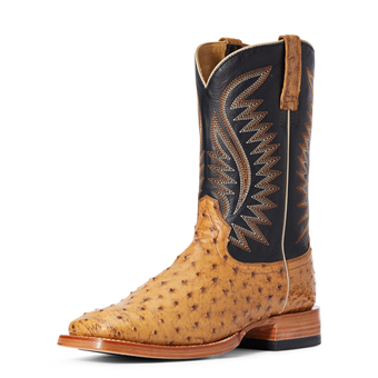 Ariat Men's Gallup Full-Quill Ostrich Boots - Tan/Negro