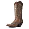 Ariat Divine Fashion Boots w/Overlay - Crackled Taupe/Gunmetal Metallic