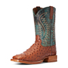 Ariat Men's Gallup Full-Quill Ostrich Boots - Brandy/Roaring Turquoise