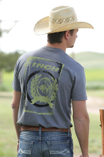Cinch Men's S/S Jersey Tee Shirt - Heather Grey