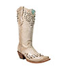 Corral Women's Bone Crystals & Flower Cut Boots - Bone