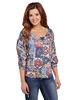 Cowgirl Up Ladies S.W. Print 3/4 Sleeve Blouse w/Cut-Out Shoulder
