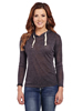 Cowgirl Up Ladies Crochet Cut-Out Back Vintage Hoodie - Grey