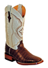 Ferrini Men's Caiman Belly Square Toe Boots - Chocolate/Pearl