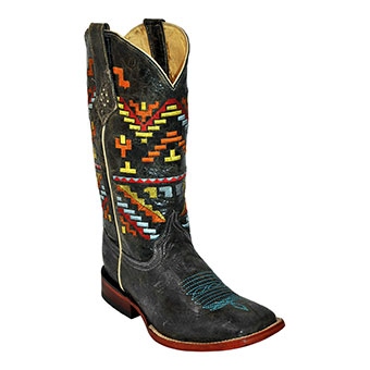 Ferrini Ladies Aztec Cowgirl Boots - Black/Teal