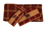 Embroidered Bear Plaid Towel Set