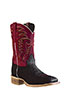 Old West Outlaw Men's Square Toe Elephant Print Boots - Black/Red