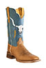 Old West Outlaw Men's Square Toe Boots - Tan/Blue