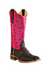 Old West� Outlaw Women's Square Toe Boots w/Vamp Strap � Caf�/Fushia
