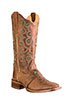 Old West� Outlaw Women's Square Toe Boots w/Vamp Strap � Tan