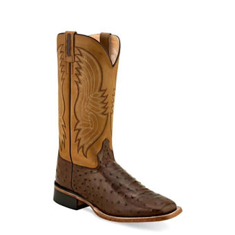 Old West Men's Ostrich Print Embossed Leather Boots - Cigar/Tan Canyon
