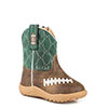 Roper Cowbabies Friday Night Football Western Boots - Brown/Green