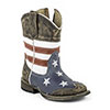 Roper Toddler's Sanded USA Flag Square Toe Boots