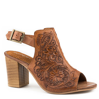 Roper Ladies Floral Tooled Leather Open Toe Mule w/Back Strap