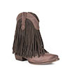 Roper Ladies Suede Fringe High Ankle Boots - Brown Burnished