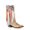 Roper Ladies Americana Fringe Snip Toe Boots - Brown