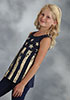 Roper Girl's Racer Back Tank w/Distressed Stars & Stripes - Blue
