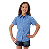 Roper Girl's Solid Poplin Snap Shirt - Blue
