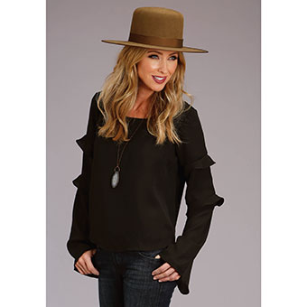 Stetson Ladies Black Crepe Blouse