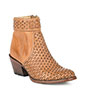 Stetson Ladies Basket Weave Shorty Boots - Burnished Tan