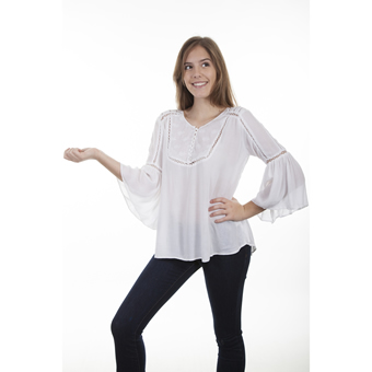 Scully Honey Creek Ladies Hi-lo Crochet Embroidered Tunic - Ivory