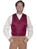 WAH MAKER Men's Double-breasted Floral Silk Vest - Burgundy