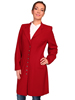 WAH MAKER Ladies Wool Crepe Frock Coat - Dark Red