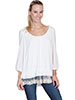 Scully Limited Edition Ladies Blouse w/ Lace Hem - Ivory