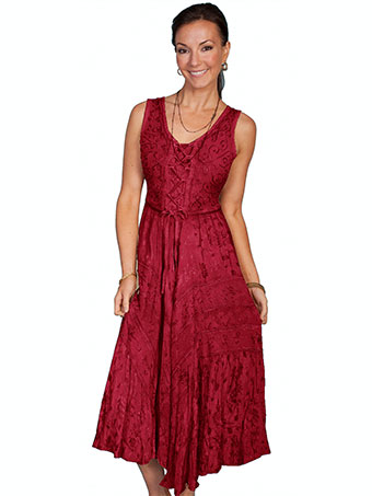 Scully Honey Creek Lace Front Sleeveless Dress - Burgundy