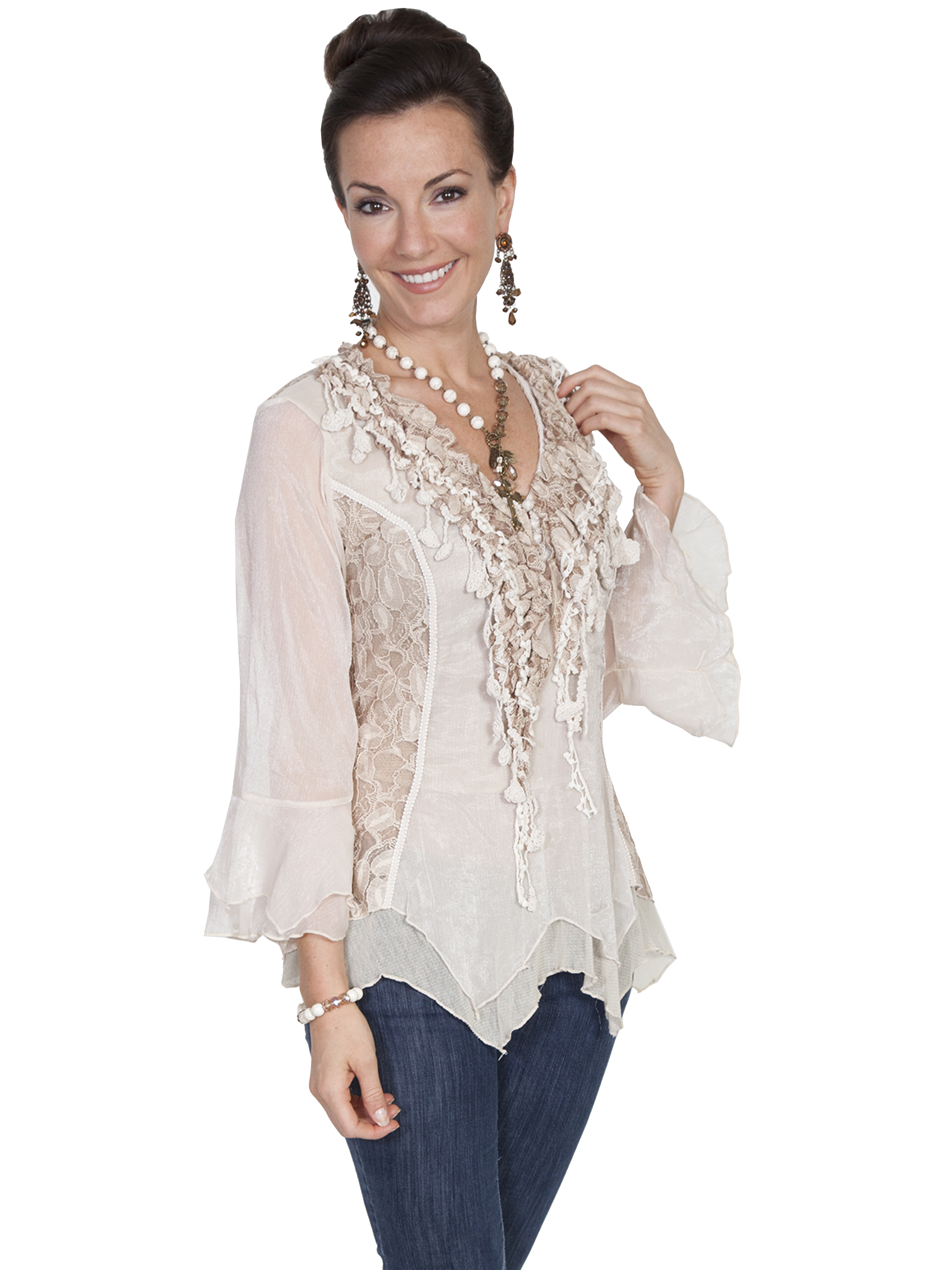 Pungo Ridge Scully Honey Creek Lace Amp Ruffle Blouse