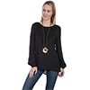 Scully Honey Creek Ladies Crochet Tunic - Black