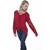 Scully Honey Creek Ladies Hi-lo Blouse w/Crochet Sleeves - Red