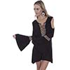 Scully Aztec Embroidered Cold Shoulder Dress/Tunic - Black