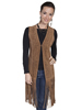 Scully Ladies Boar Suede Perforated Fringe Vest - Cinnamon