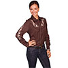 Scully Ladies Western Pink Floral Blouse - Chocolate