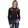 Scully Ladies Western Boot and Guitar Embroidered Blouse