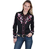 Scully Ladies Western Dragon Flower Blouse - Black
