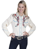 Scully Ladies Emroidered Horse & Flower Shirt - Cream