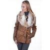 Scully Ladies Faux Fur & Leather Jacket - Brown