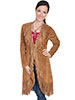Scully Ladies Boar Suede Fringed Maxi Coat - Cinnamon