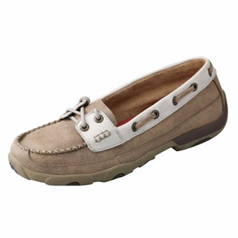 Twisted X Women's Driving Moc/Boat Shoe - Dusty Tan/White