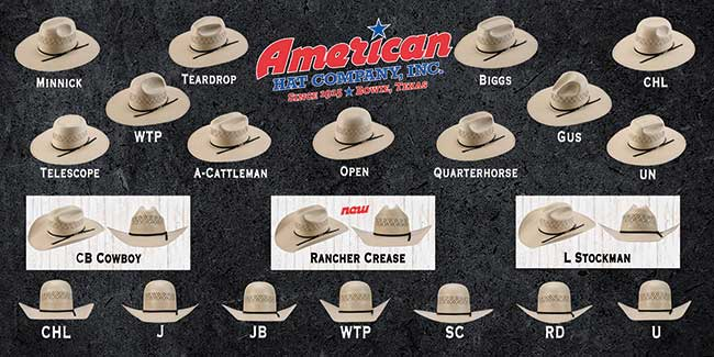 American Hat Company Custom Shape Crown and Brim Styles