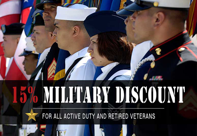 15% OFF Military Discount