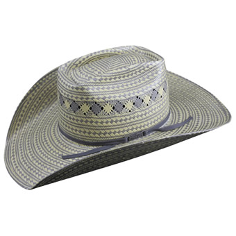 American Hat Co 15★ 3100 Fancy Vent Two-Tone Straw Hat - Grey/Wheat